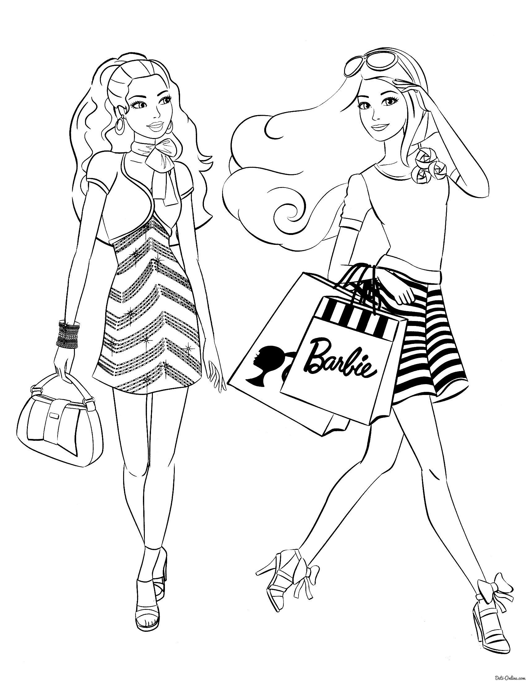 раскраска покупки с барби раскраски Coloring Pages