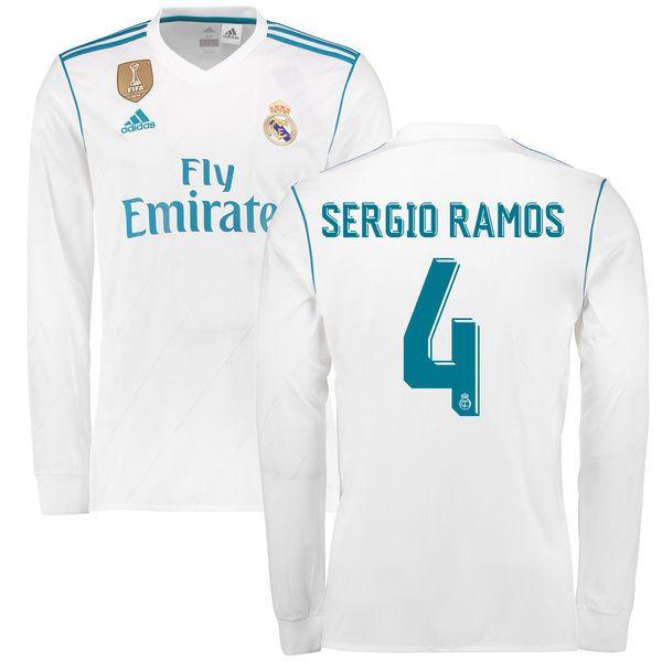 Sergio Ramos Real Madrid adidas 2017 18 Home Replica Patch Long Sleeve  Jersey - White -  124.99 4dfa591d7