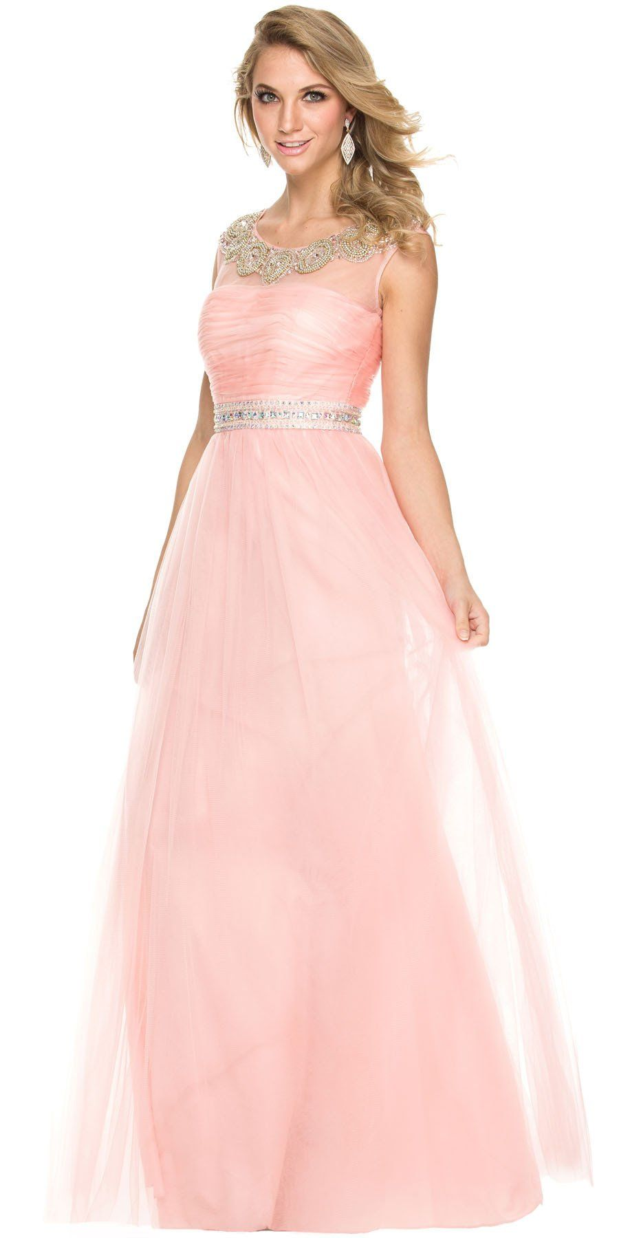 Floor Length Mesh Prom Gown Bashful Pink A Line Scoop Beaded Neck