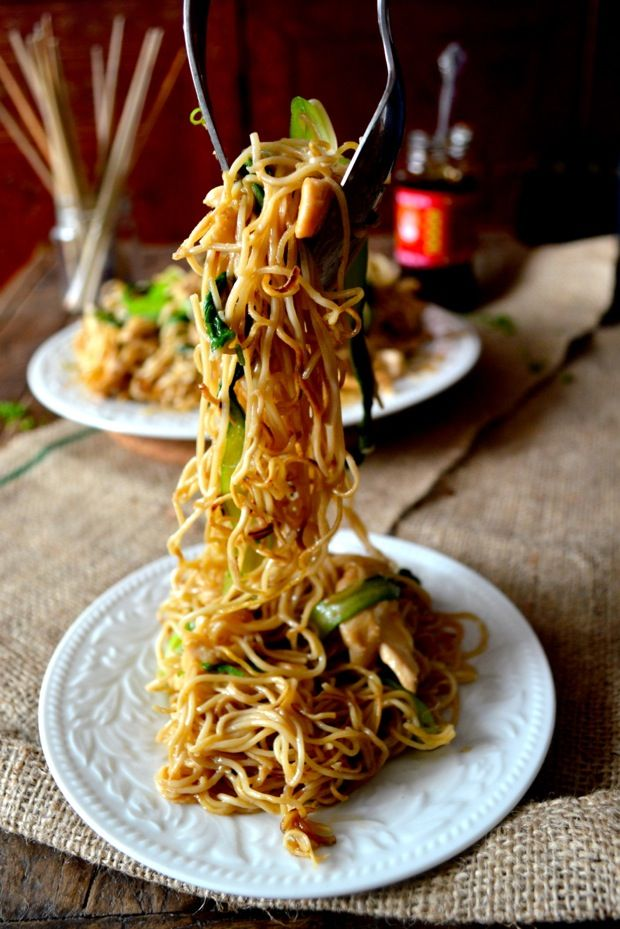 Chicken Pan Fried Noodles Gai See Chow Mein Recipe With Images Pan Fried Noodles Recipes Food