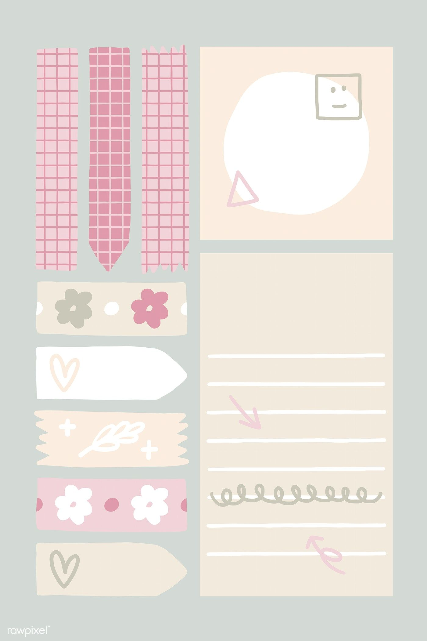 Sticky note doodle design collection vectors free image