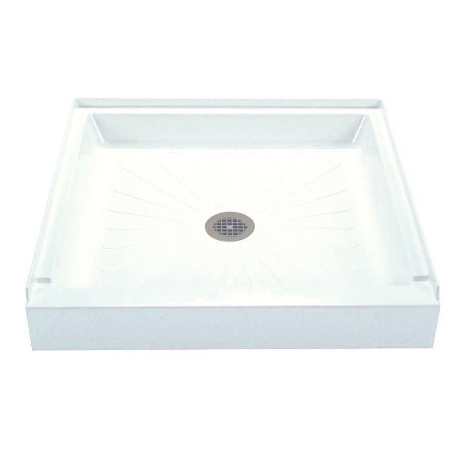Mustee Durabase White Fiberglass Shower Base (Common: 34-In W X 34 ...