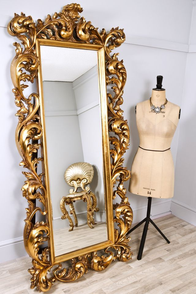 Mirror large decorative mirrors frame the bright gold for Gold frame floor mirror