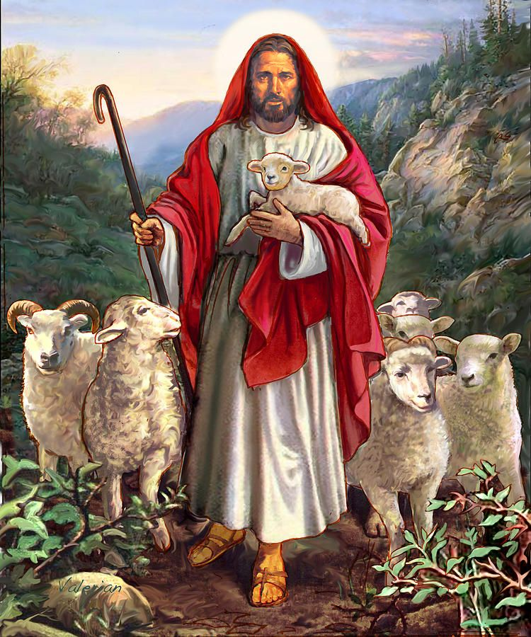 Jesus Holding Black Sheep Painting