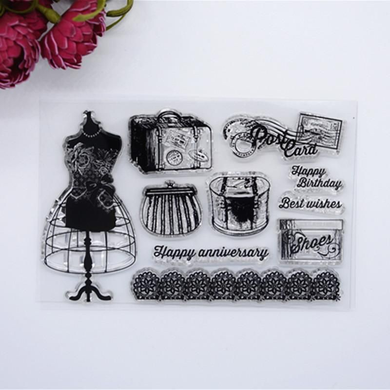 [Visit to Buy] 2016 New Scrapbook DIY Photo Album Cards Transparent Acrylic Silicone Rubber Clear Stamps Retro Dress  #Advertisement