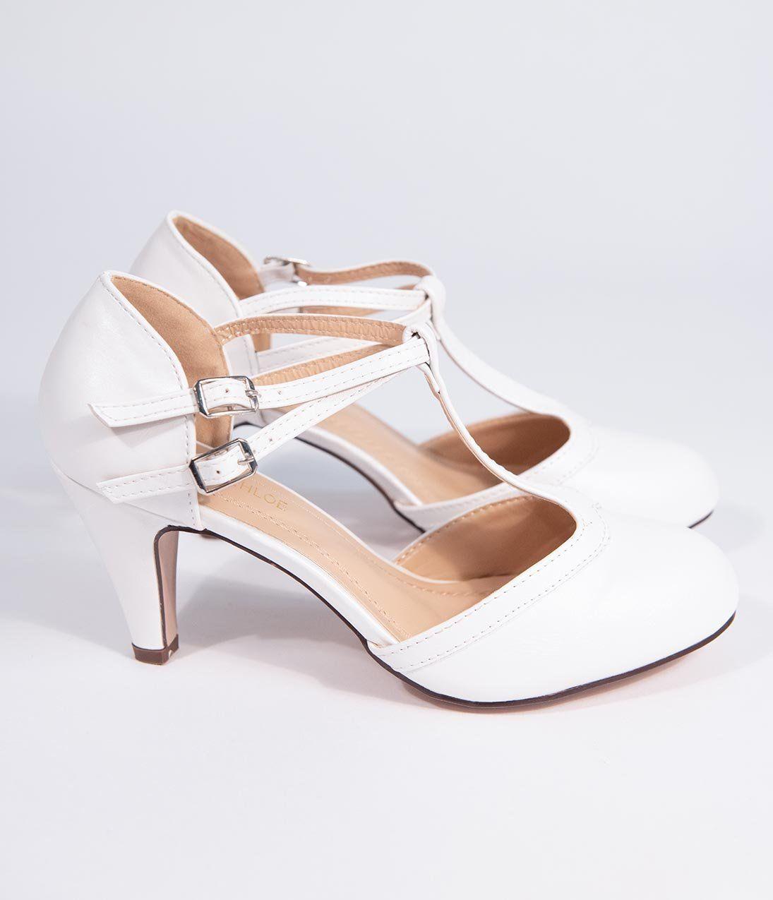 Round Toe T-Strap Heels