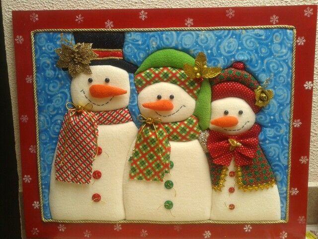 Cuadro nieves patchwork sin aguja patch sin aguja for Cuadros de navidad