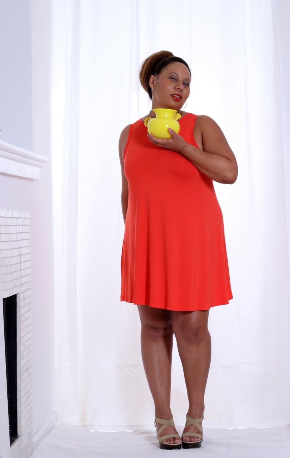 Orange Swing Dress | Dressy Casual | Curvy Outfit Ideas ...