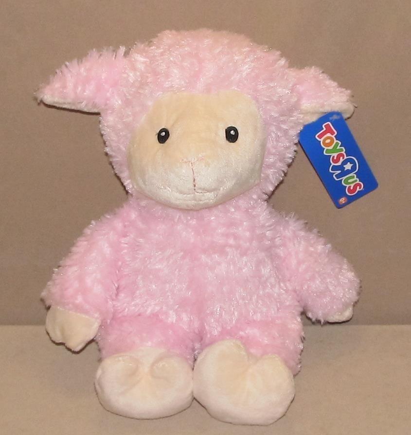 Nwt 13 Toys R Us Pink Cream Fluffy Lamb Sheep Plush Stuffed Sewn