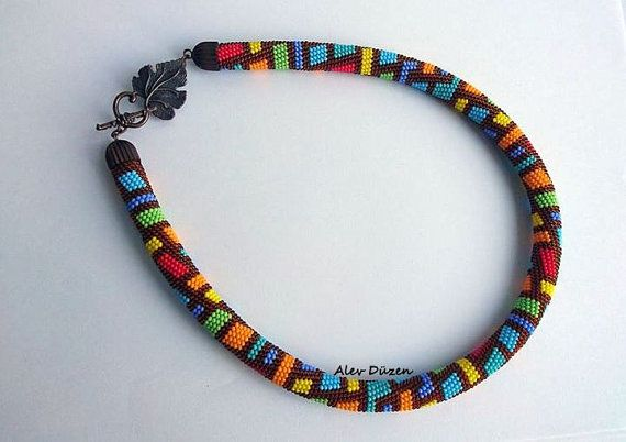 AN066 - Bead Crochet Necklace -  Colorful  Bricks  Triangle Beaded Necklace - Handmade Beadwork Necklace