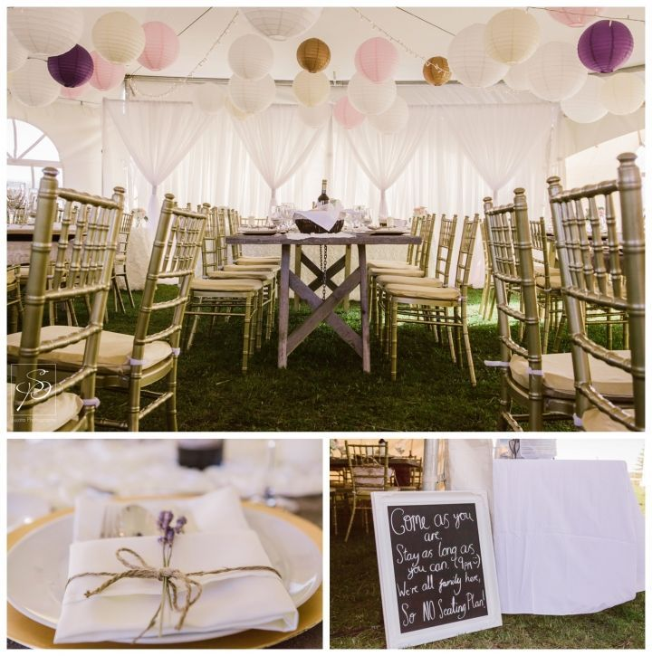 Stunning tent reception decoration at this acreage wedding! I especially love the tables and chairs. To see more from their Okotoks Acreage wedding visit the blog: http://www.sujataphotography.com/emma-keith-intimate-acreage-okotoks-wedding-photography/