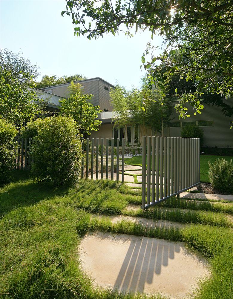 modern metal picket fence & gate, by hocker design