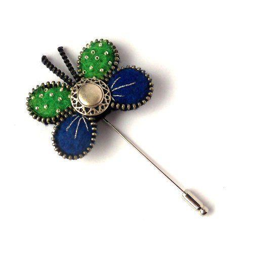 Zipper Butterfly Brooch, felted blue & green Pin, Handmade Brooch with Button via Etsy