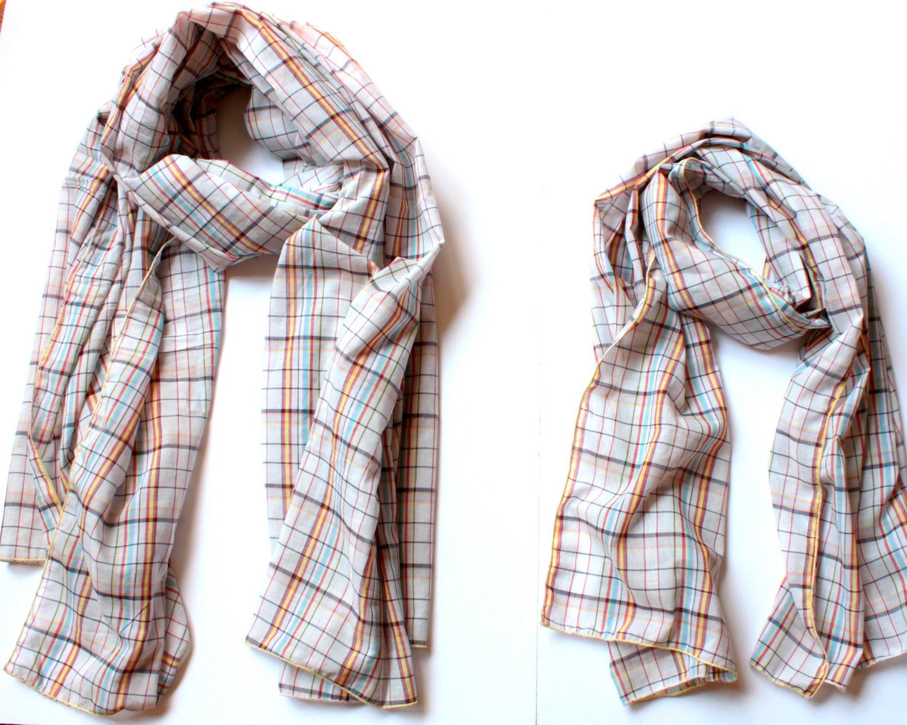Fête des pères : look père-fils ou père-fille pour un duo d'écharpes en voile de coton écossais dans un sac assorti : Echarpes par lunitesieste