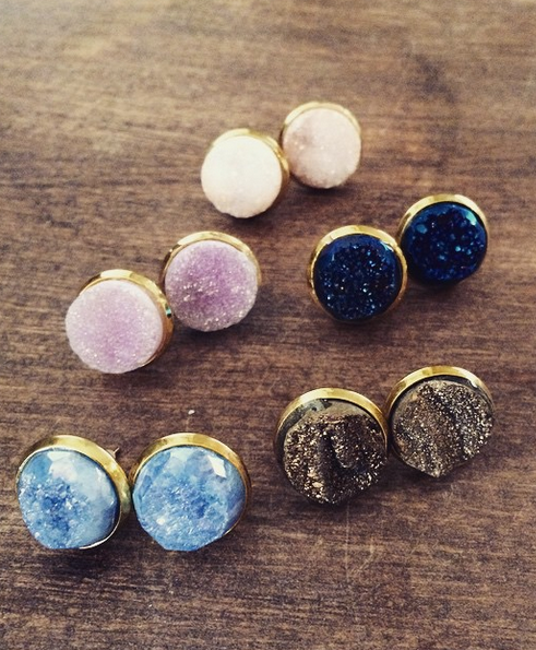 druzy dipped pin earrings stud drusy agate gold