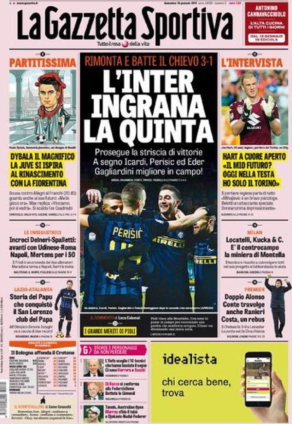 Rassegna stampa Gazzetta dello Sport prima pagina L'Inter