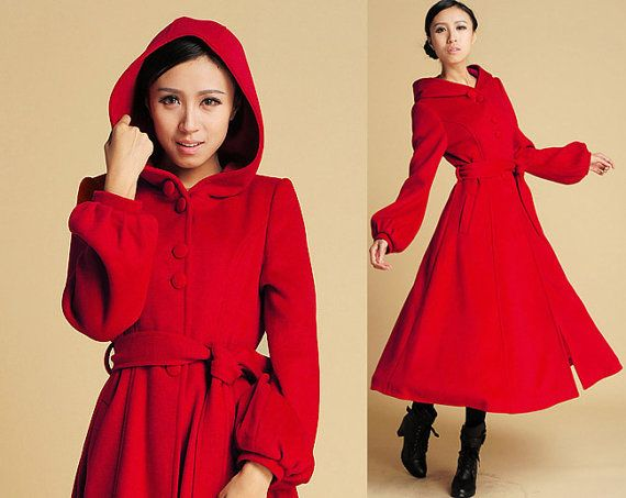 Red Wool coat, Swing Coat, hooded coat, maxi coat, long coat ...