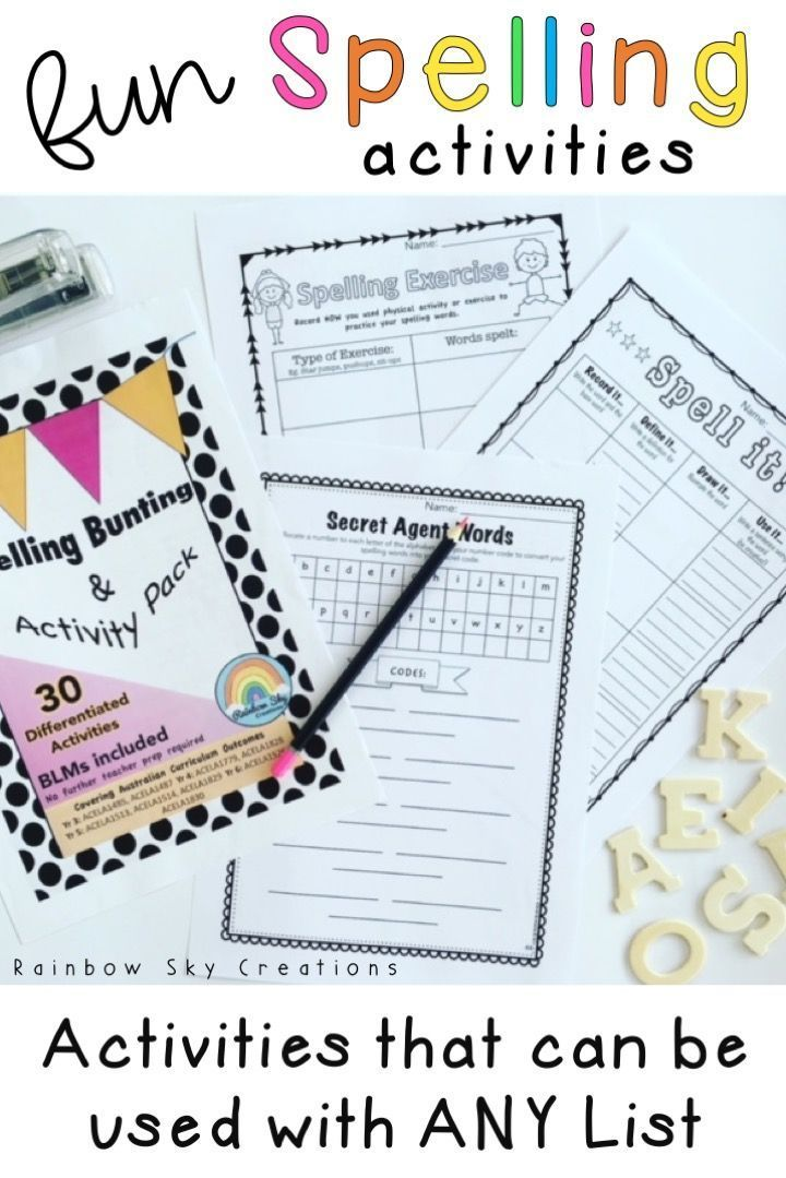 Check Out These Fun Spelling Activities And Bunting Bulletin Board