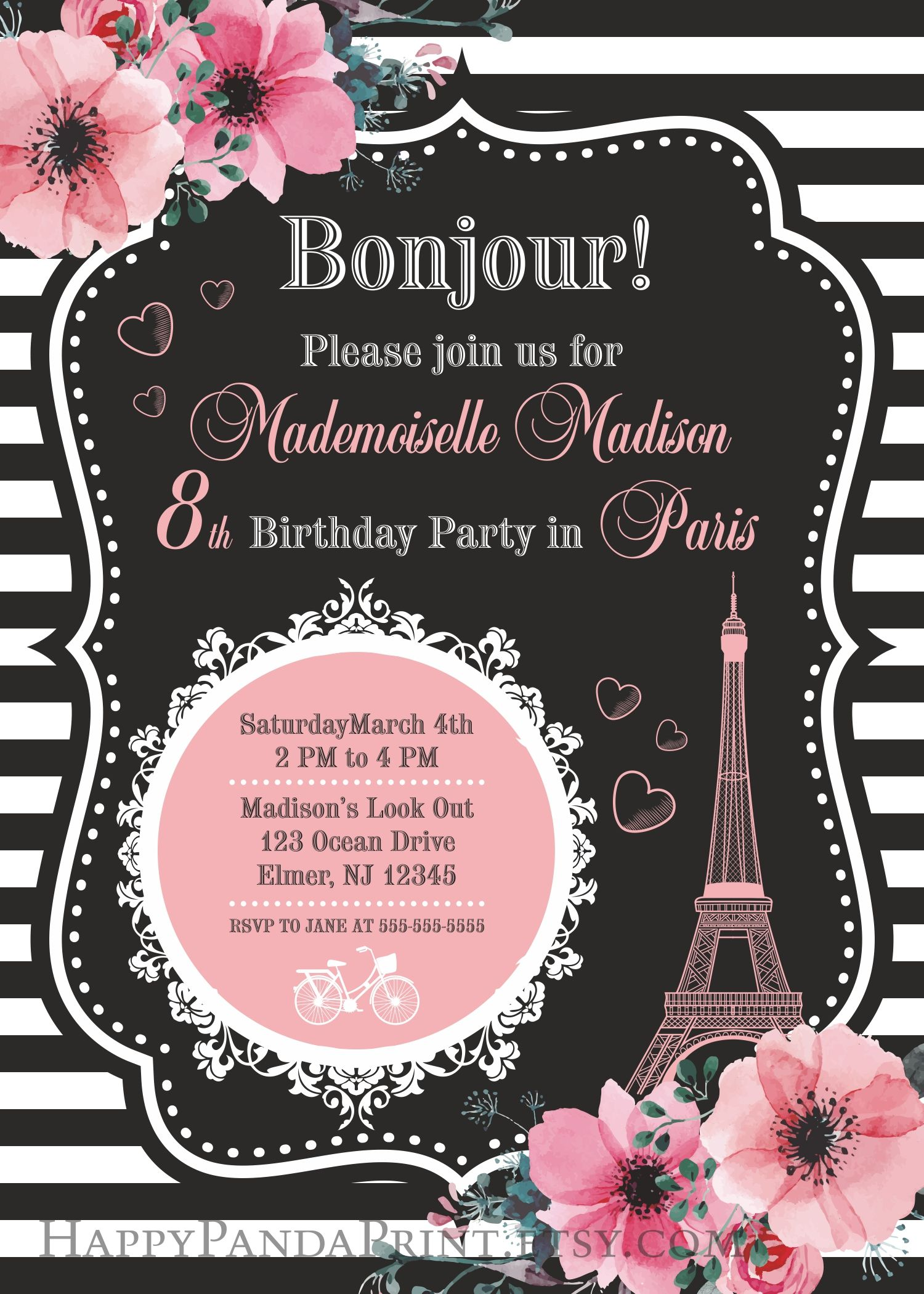 Paris Invitation Birthday Party Eiffel Tower Invite French Oh La
