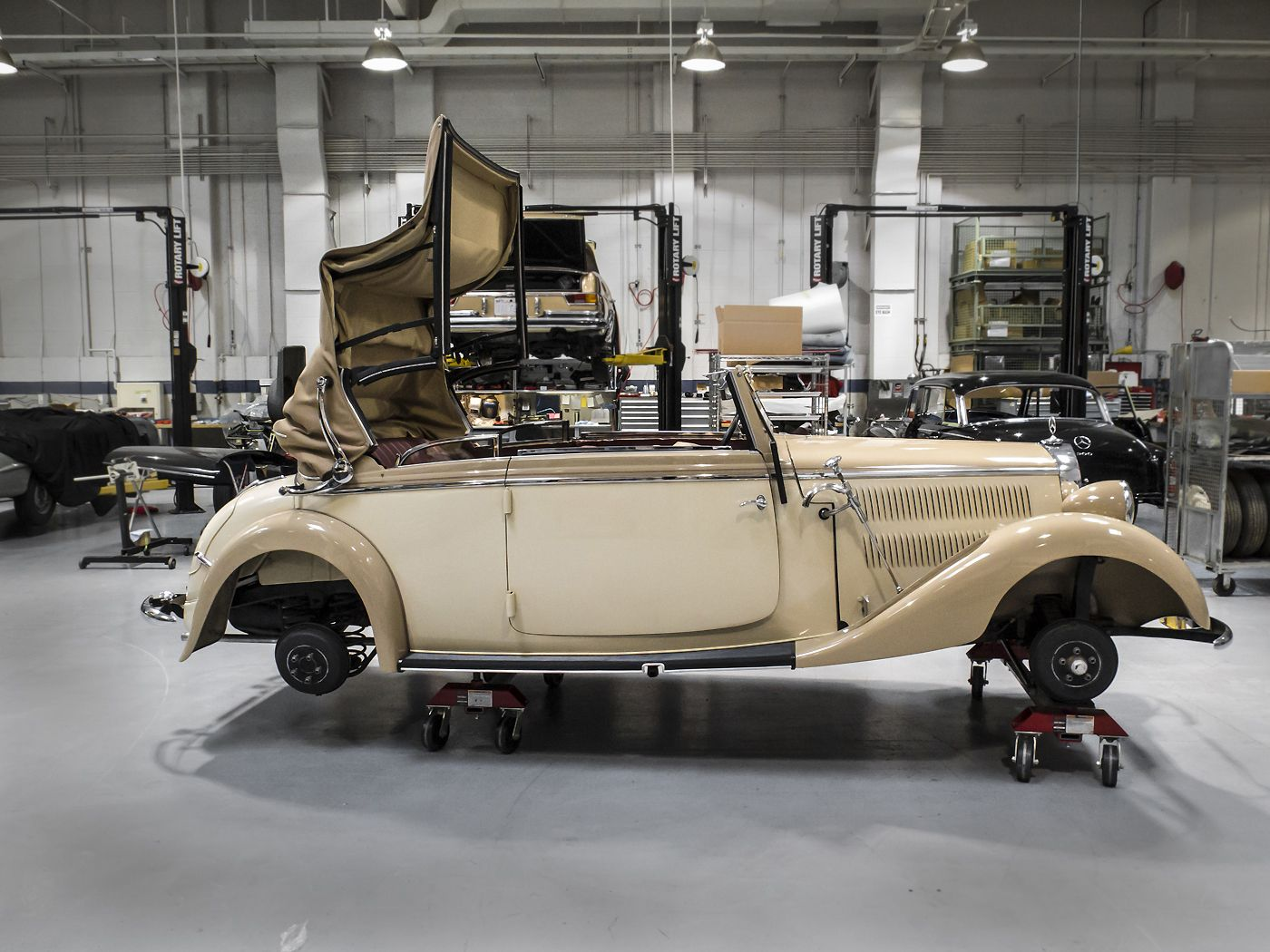 1938 mercedes benz 230 cabriolet b restoration at the for Mercedes benz call center