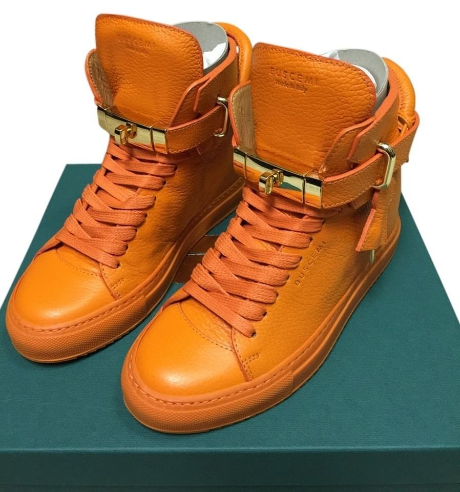 e7568c2997b BUSCEMI WOMENS WEDGE GOLD ORANGE ALTA LOCKS LOCK HIGH TOP TOPS SNEAKERS  SHOES 36  Buscemi  FashionSneakers