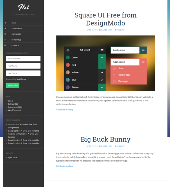 This free flat WordPress theme features a responsive layout, an off ...