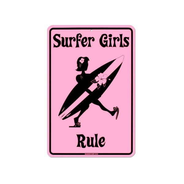 Surf Signs Decor Gorgeous Surfer Girls Rule Tin Sign Wall Art 24 Cad ❤ Liked On Polyvore Design Decoration