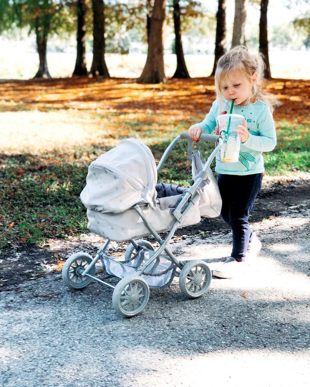 Gray Stars Mini Pram Doll Stroller
