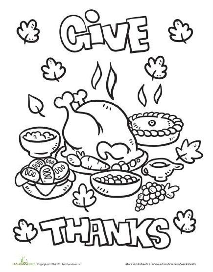 Thanksgiving Dinner Coloring Page Thanksgiving Worksheets