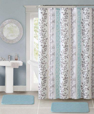 This Aqua Amadora Shower Curtain Hooks Bath Rug Set By Victoria