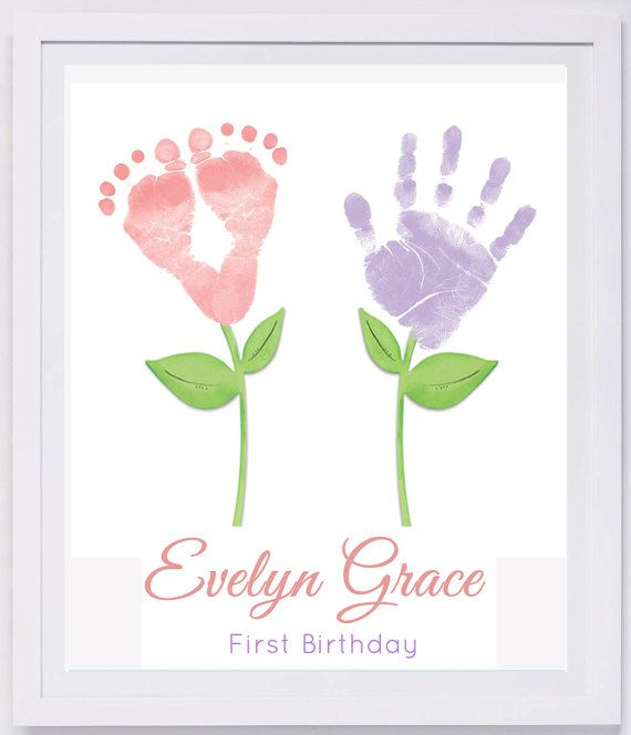 My 1st Birthday Card Present Keepsake /& Frame Baby Made Hand Foot Print Kit