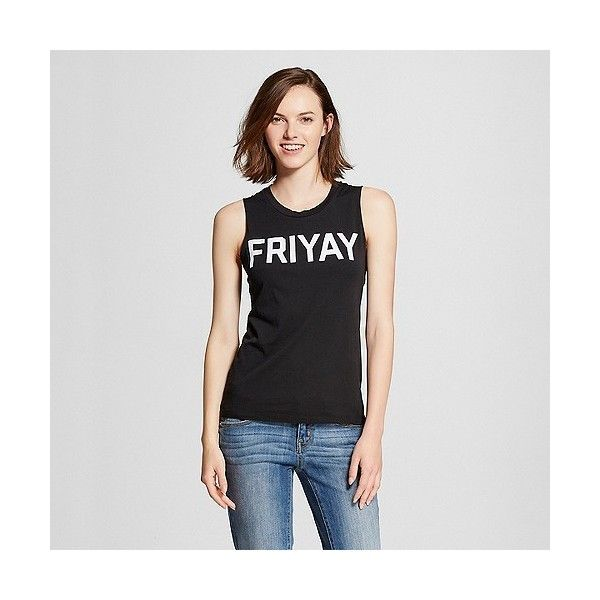 Women's Friyay Graphic Muscle Black ($13) ❤ liked on Polyvore featuring tops, black, cotton shirts, muscle tshirt, layering tanks, print tank top and graphic print shirts