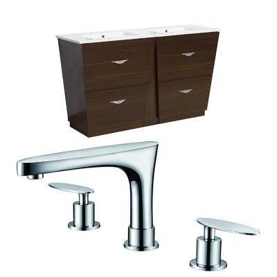 "American Imaginations Vee 48"" Double Plywood-Melamine Bathroom Vanity Set"