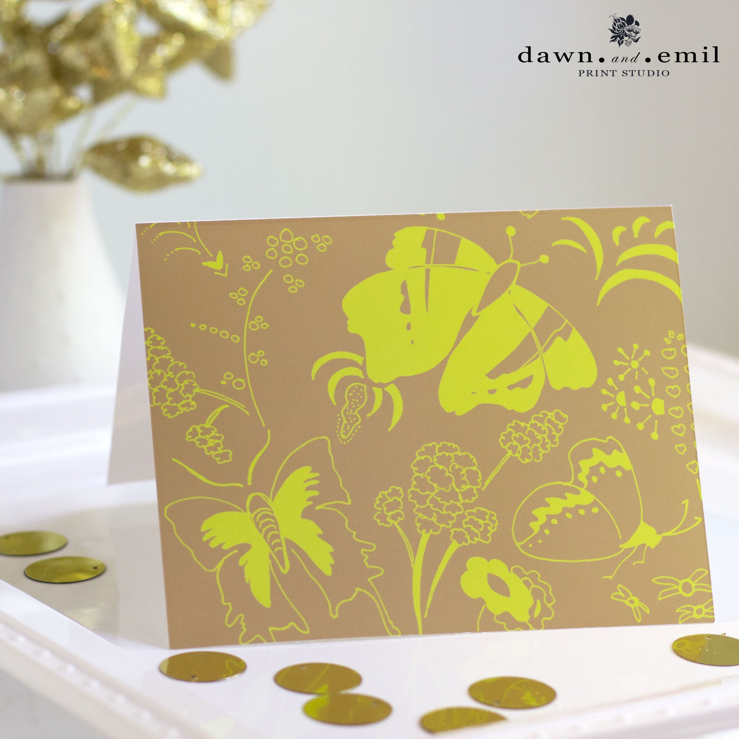 """Butterfly Sanctuary note card - """"Candy Shoppe"""" colors - Dawn.and.Emil Print Studio"""