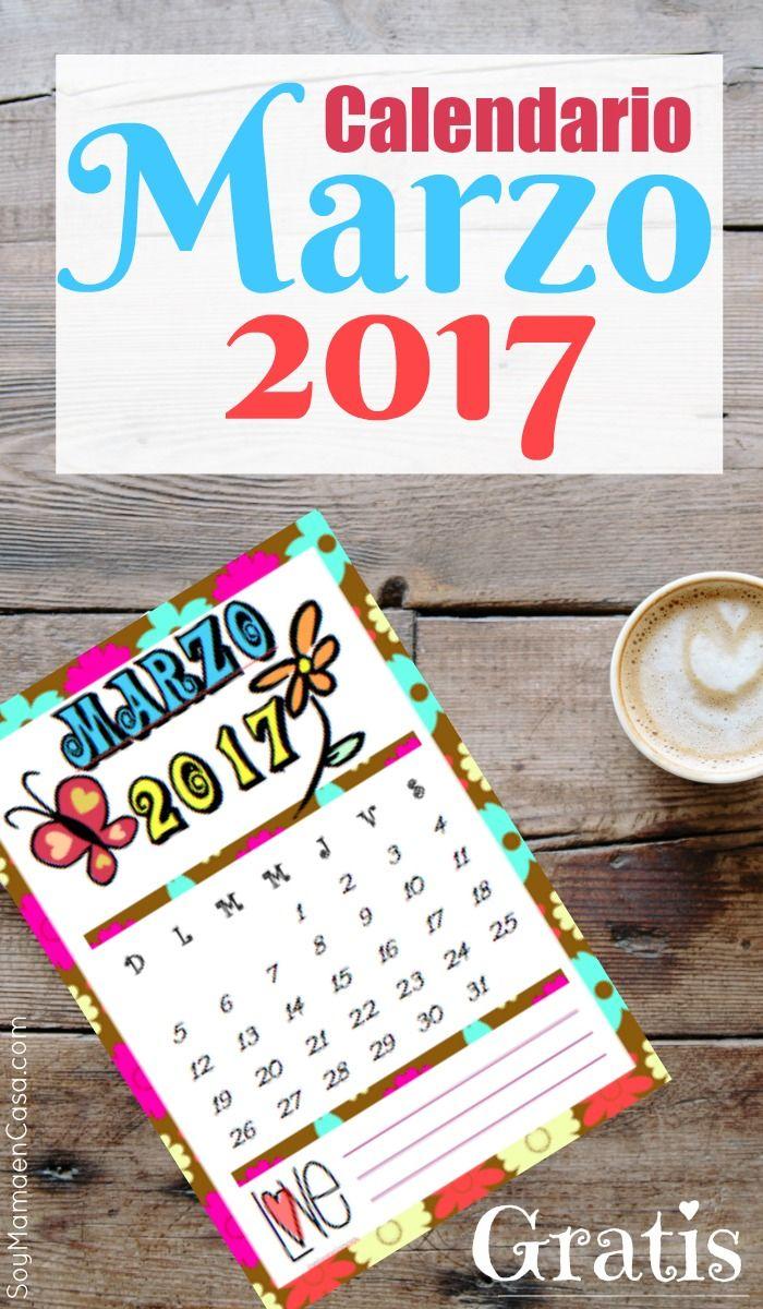 Calendario Marzo 2017 para imprimir gratis. =>Haz PIN para guardar. ¡ No te lo puedes perder !  Imprimibles / 70s