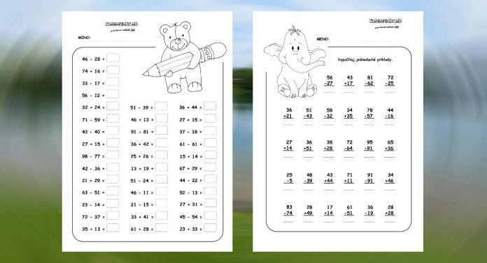 Pracovný list z matematiky pre druhákov