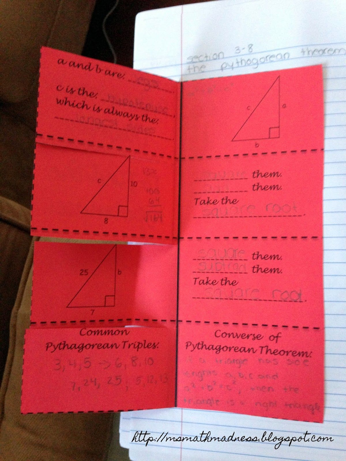 Middle School Math Madness Pythagorean Theorem Foldable Number
