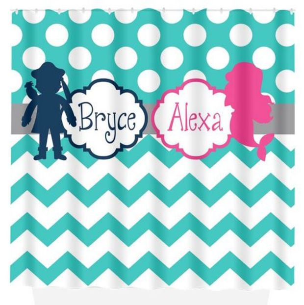 Mermaid Pirate SHOWER CURTAIN Navy Hot Pink Custom MONOGRAM Brother Sister  Polka Dot Bathroom Decor Bath. Mermaid Pirate SHOWER CURTAIN Navy Hot Pink Custom MONOGRAM