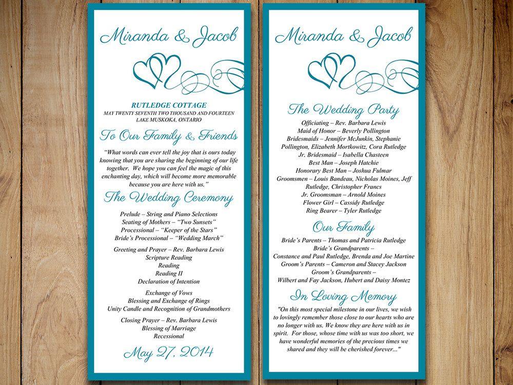 program for wedding ceremony template