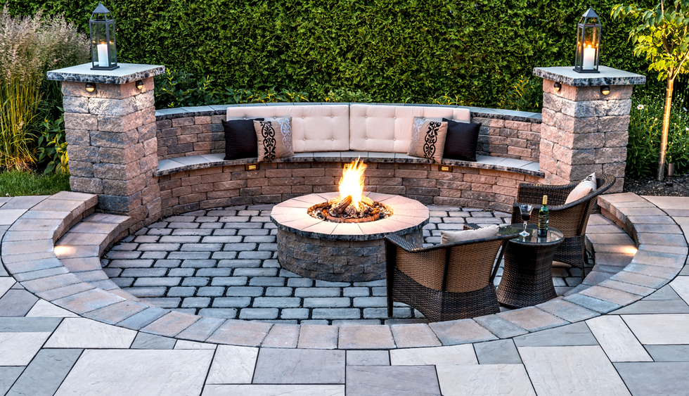 Patio Fire Pit Ideas Love The Outdoor Fire Pit With The Stone Sitting Bench Fire  Pits
