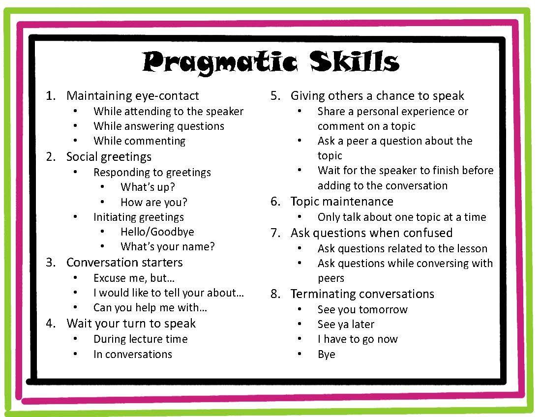 Speeching Around Pragmatic Skills
