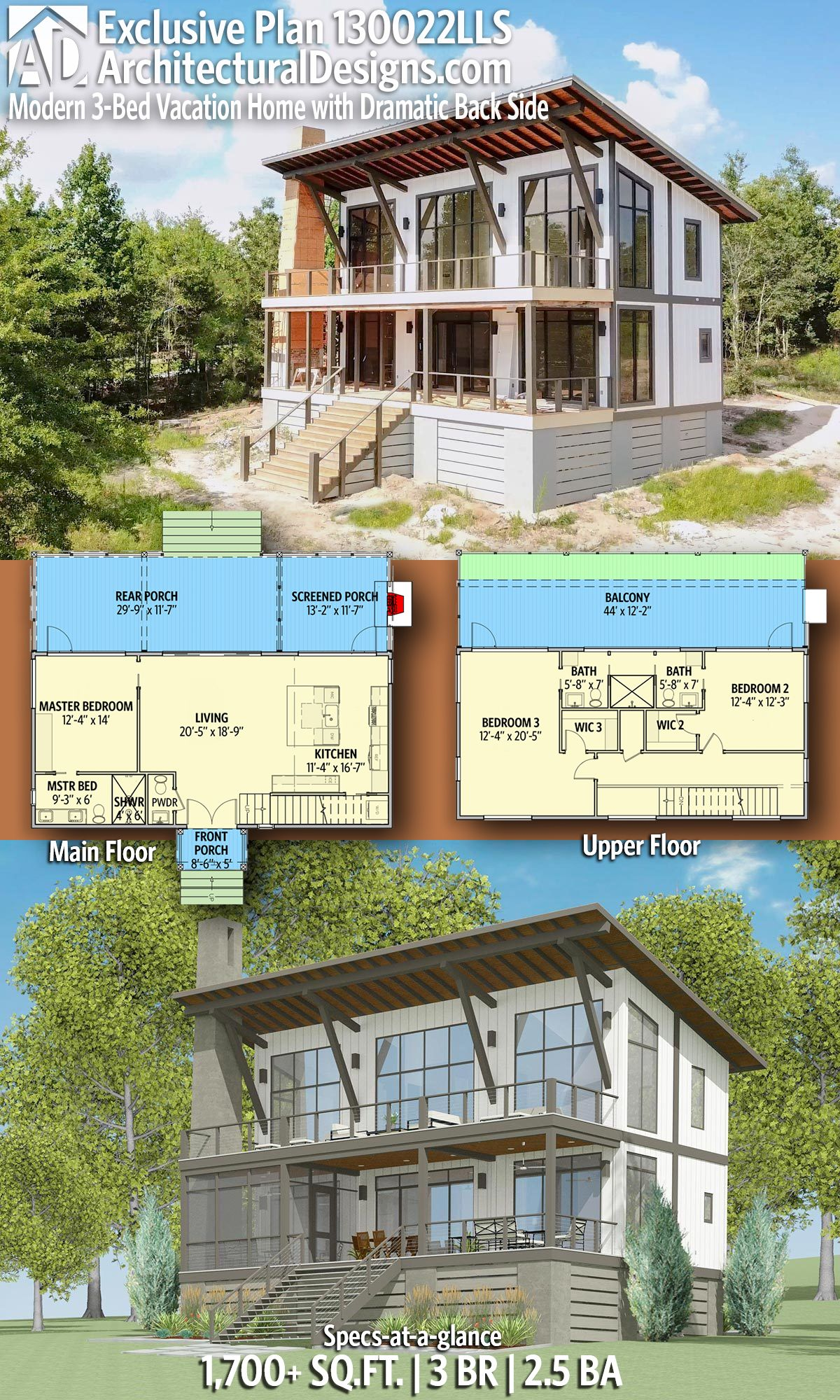 Plan 130022lls Modern 3 Bed Vacation Home With Dramatic Back Side Lake House Plans Modern House Plans House Plans