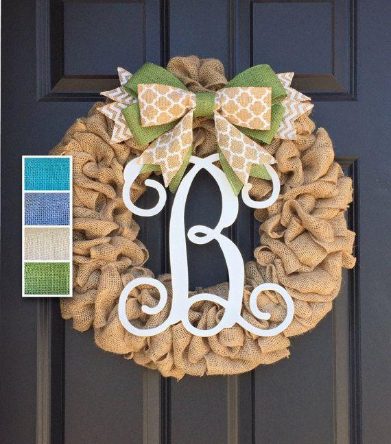 Initial Burlap Wreath,Monogram Wreath,Front Door Wreath,Personalized Housewarming Gift,Year Round Wreath,Summer Spring Wreath,Door Hanger