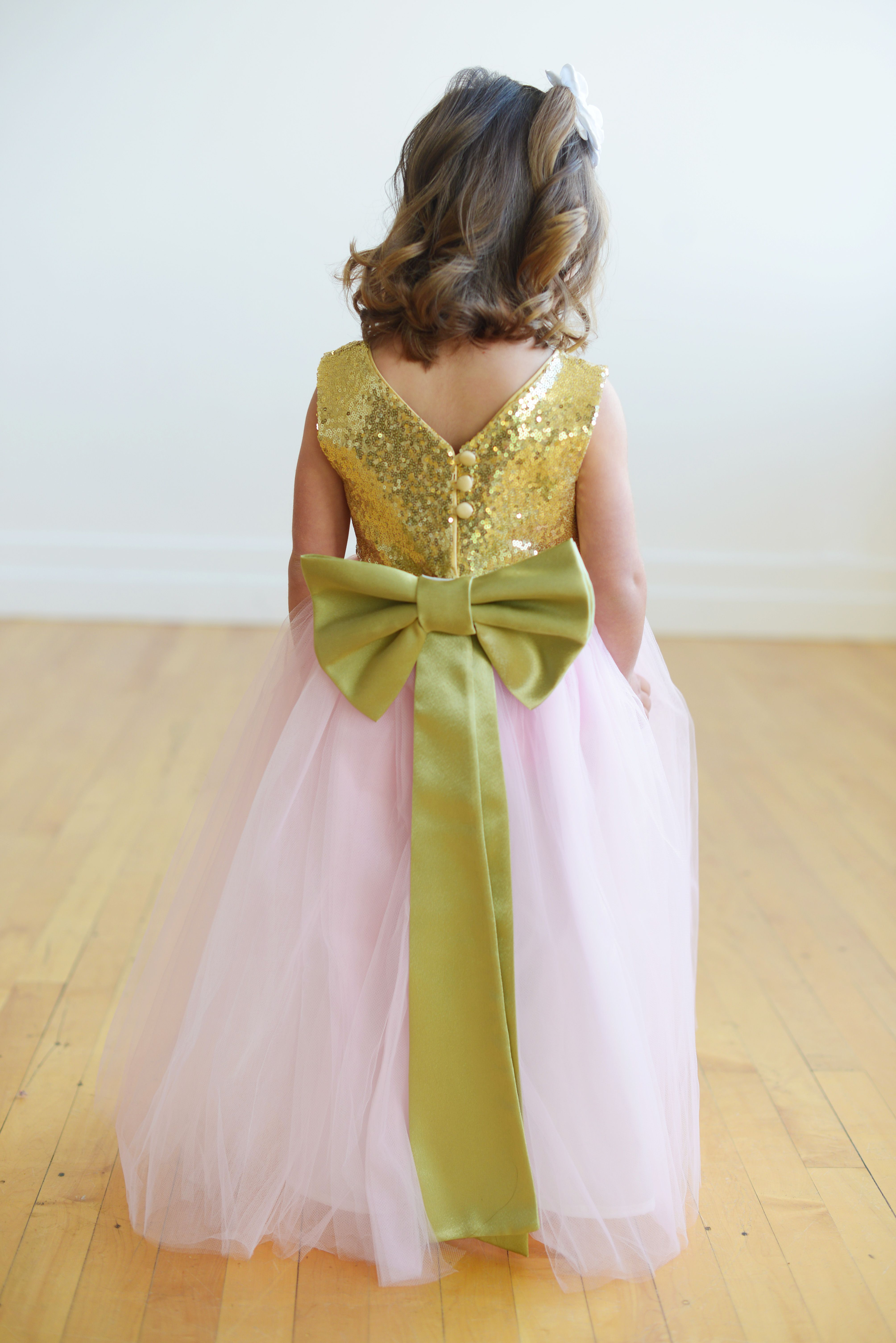 A Gold And Pink Flower Girl Dress Handmade In London Uk This Dress