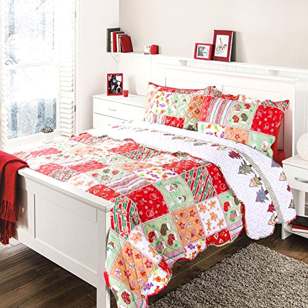 Bedding Lovely Christmas Quilt Set King Size 3 Pc Bedspread Coverlet ...