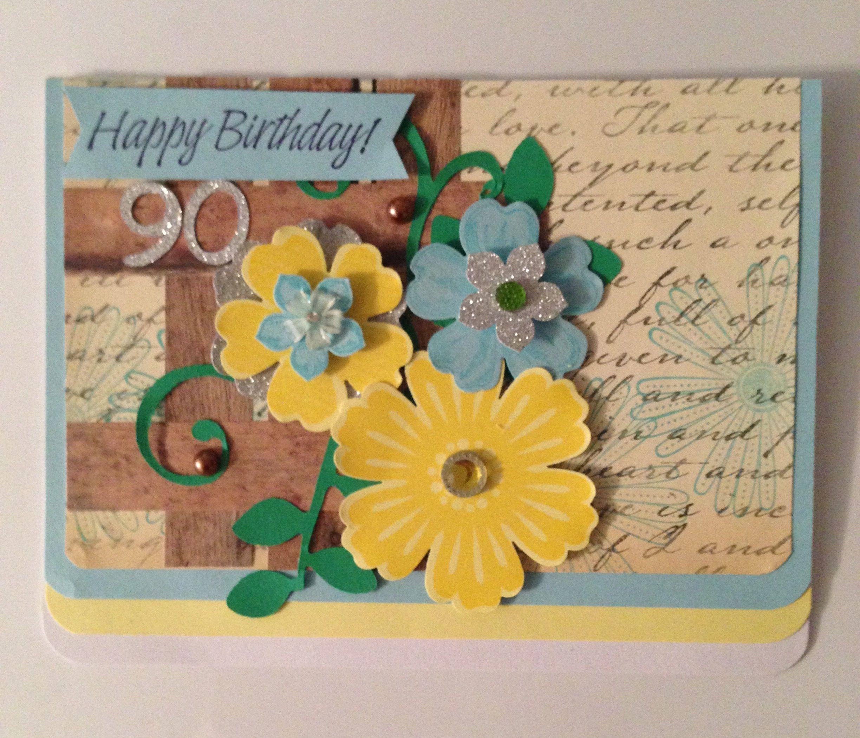90th Birthday Handmade Diy Card By Vicki J Boggs Birthday Cards Cards Diy Cards