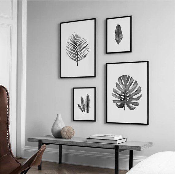 Botanical Print Set Black White Set 4 Prints Monochrome Poster Grey Art Set Poster Download Livi Room Wall Decor Wall Decor Living Room Decor