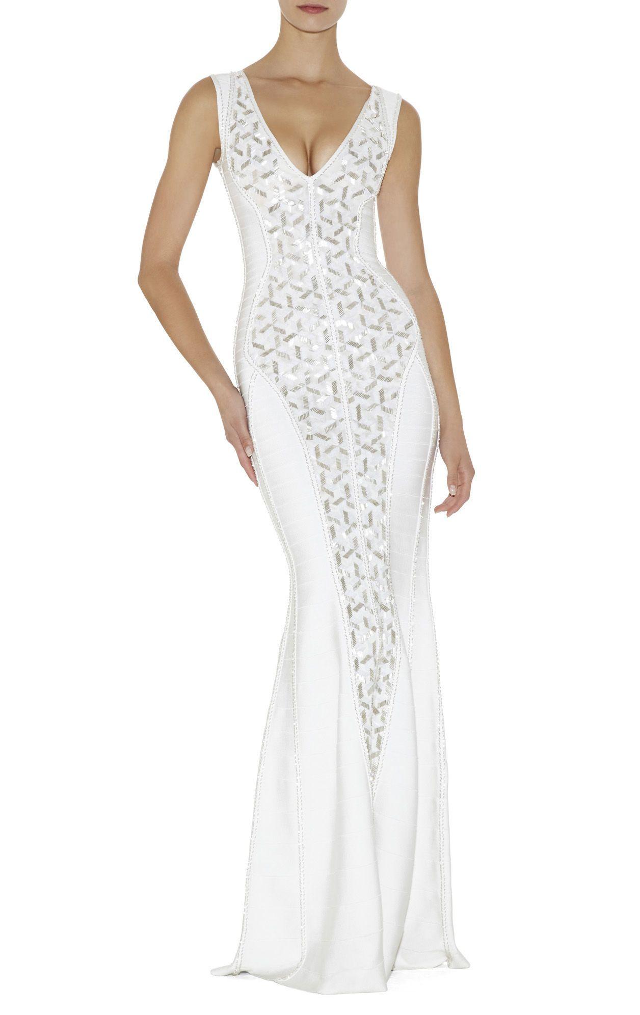 Evangeline geometric beaded dress herve leger fashion woman