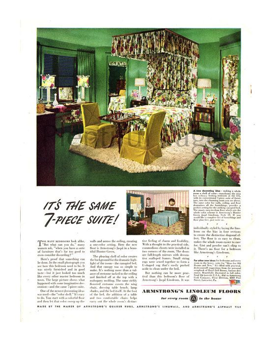 1945 armstrongs linoleum floors vintage ad 1940s bedroom retro decor vintage bedroom advertising art canopy bed floral bedding - Linoleum Canopy Decorating