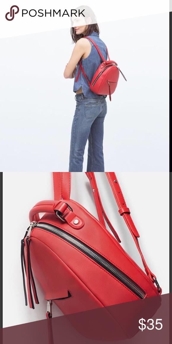 faeed08020 Zara red backpack Faux leather Zara backpack. Good condition. Very beautiful.  Zara Bags Backpacks
